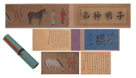A CHINESE HANDSCROLL PAINTING OF FIGURES AND HORSES