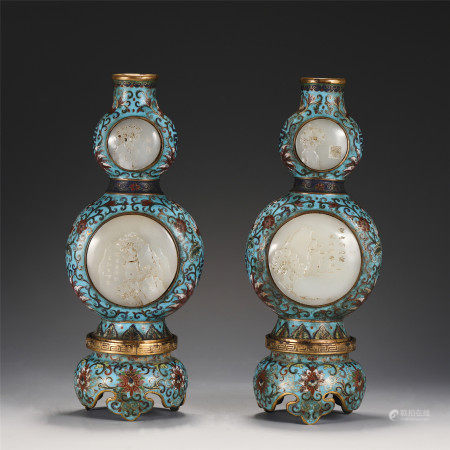 A PAIR OF CHINESE CLOISONNE DOUBLE-GOURD INLAID JADE VASES