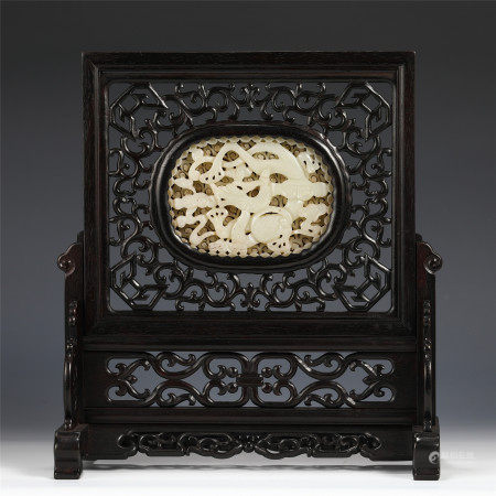 A CHINESE ZITAN INLAID JADE TABLE SCREEN