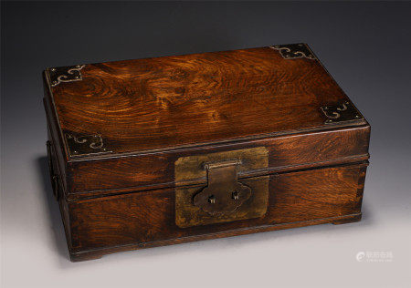 A CHINESE HARDWOOD LIDDED BOX