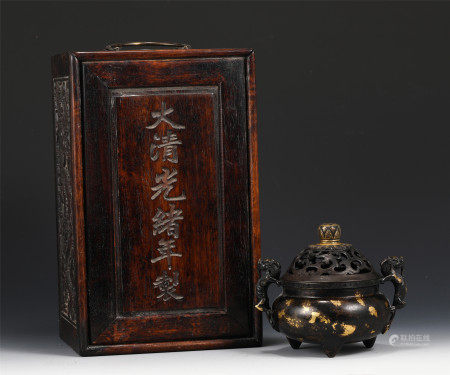 A CHINESE BRONZE INLAID GOLD INCENSE BURNER
