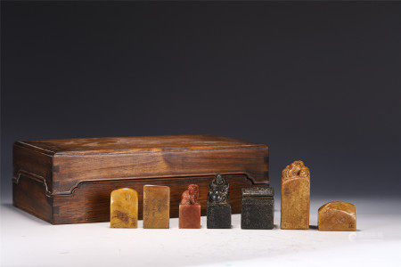 A SET OF CHINESE SOAPSTONE SEALS