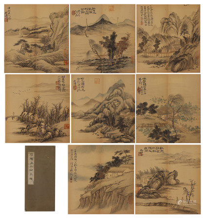 A CHINESE ALBUM OF PAINTINGS MOUNTAINS LANDSCAPE