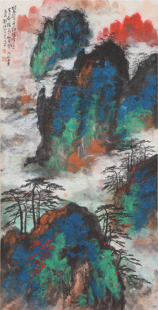 A CHINESE PAINTING GREEN MOUNTIANS