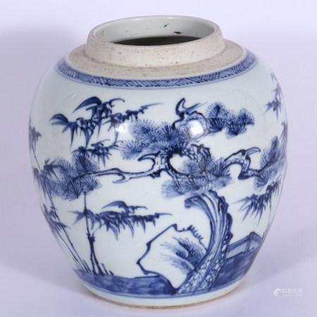 清 青花花卉罐