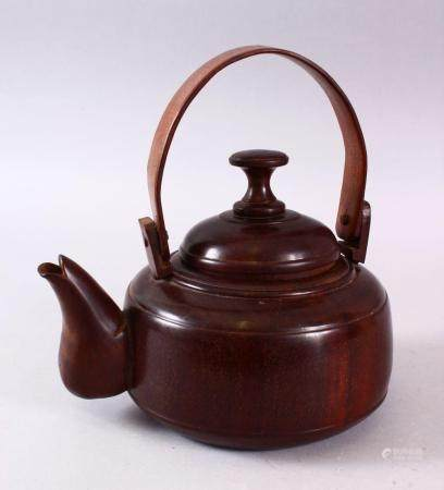 A GOOD CHINESE CARVED WOOD POSSIBLY HUANGHUALI / ZITAN TEA POT & COVER, the close knit grain dense wood pot wi