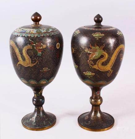 TWO GOOD 19TH CENTURY OR EARLIER CHINESE CLOISONNE STEM VASES & COVERS, each decorated with gilt wire depictin