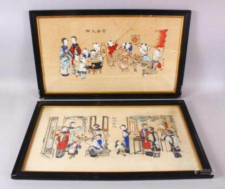 TWO 19TH / 20TH CENTURY CHINESE COLOURED PRINTS, the first depicting a procession or carnival with boys, signe