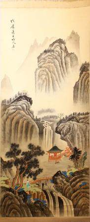 A CHINESE PAINTED SCROLL PICTURE OF A LANDSCAPE, the picture painted to depict a mountainous waterfall landsca