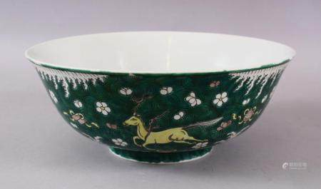 A 19TH / 20TH CENTURY CHINESE FAMILEL VERTE PORCELAIN BOWL, Decorated with horses uopn a wave ground with pre