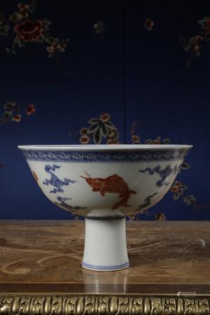 A BLUE & WHITE 'FISH' STEM BOWL. ZHENG DE PERIOD, MING DYNASTY.