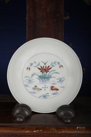 A DOUCAI 'mandarin ducks' DISH. YONGZHENG PERIOD, QING DYNASTY.