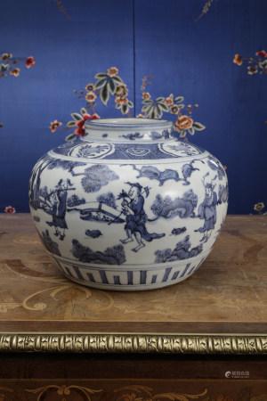A BLUE & WHITE 'FIGURAL-Ba Xian' JAR.  WANLI PERIOD, MING DYNASTY.