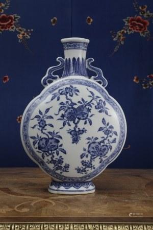 A BLUE & WHITE 'San Duo' MOON FLASK. YONGZHENG PERIOD, QING DYNASTY.