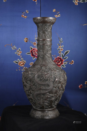 A FINE CARVED BIG BRONZE 'DRAGON & SEA' VASE, SHANGPING.  YONGZHENG PERIOD, QING DYNASTY.