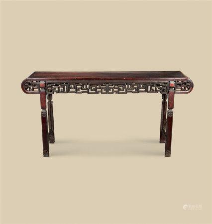 清代(1644-1911) 红木嵌瘿木下卷形大条案