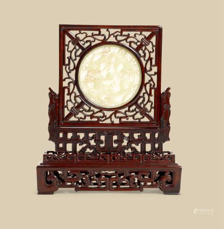 清代(1644-1911) 木嵌玉雕二龙戏珠纹砚屏