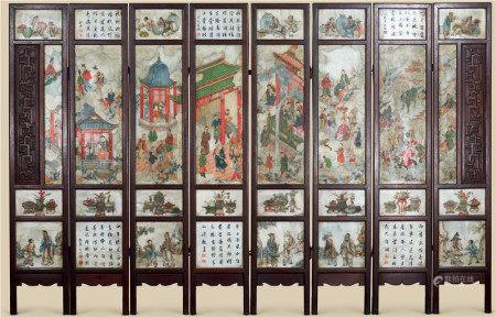 清代(1644-1911) 红木嵌大理石彩绘人物故事纹八折屏