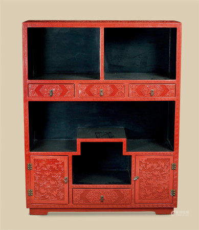 剔红缠枝莲蝠云纹亮阁柜