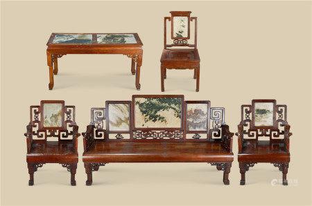 民国(1912-1949) 红木嵌云石长椅 椅 长方台 (五件一组)