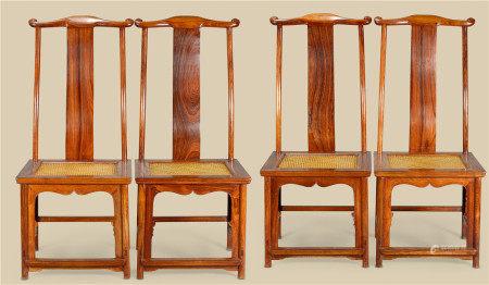 明代(1368-1644) 黄花梨官帽椅 (四件一组)