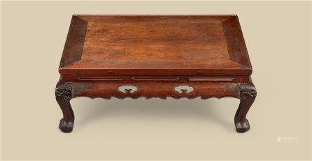 明代(1368-1644) 鸡翅木长方四兽足炕桌