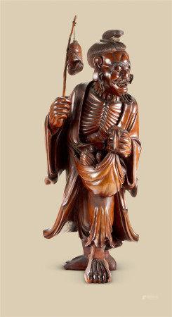 木雕渔翁立像