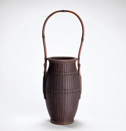 竹云斋造之款 竹编筒壶形花器