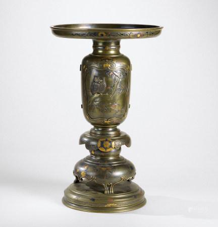 明治时期(1868-1912)水野源六   铜错金银开光瑞兽纹薄端花器