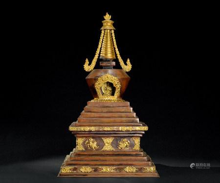 清代(1644-1911) 铜鎏金四方佛塔