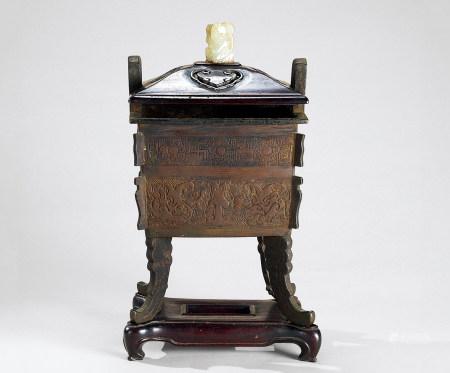 清代(1644-1911) 铜饕餮纹四方鼎式炉