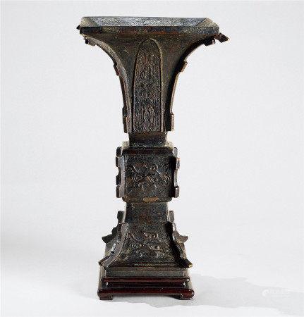 明代-清代(1368-1911) 铜龙纹花觚