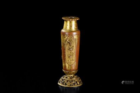 明代(1368-1644) 铜鎏金錾花花鸟纹香插