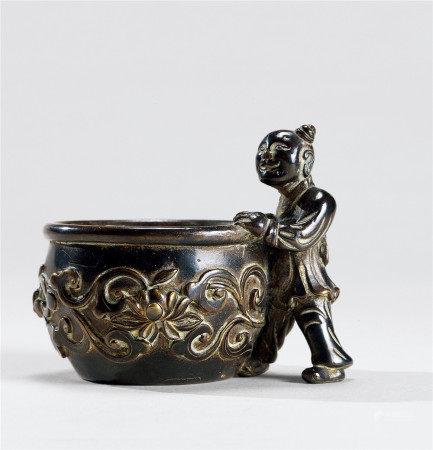 明代(1368-1644) 铜婴戏纹水盂