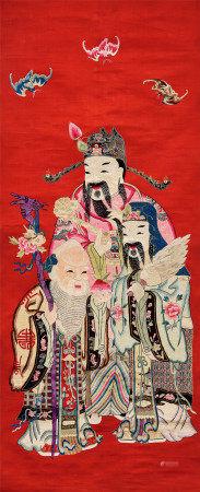 清代(1644~1911) 苏绣 福禄寿三星像