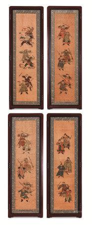 清代(1644~1911) 缂丝 人物纹四折屏