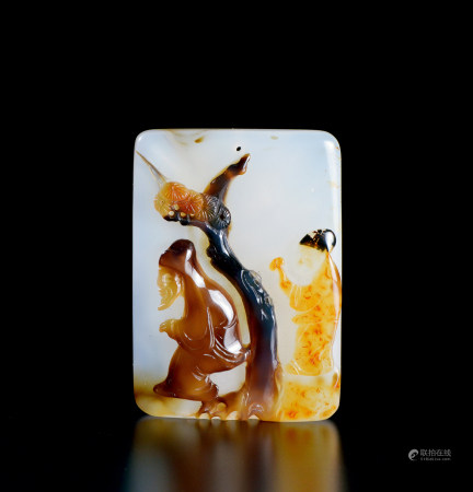 清代(1644~1911) 巧色玛瑙巧雕高士纹挂件