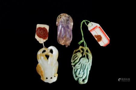 清代(1644~1911) 水晶 绿松石 玉制佛手 (三件)