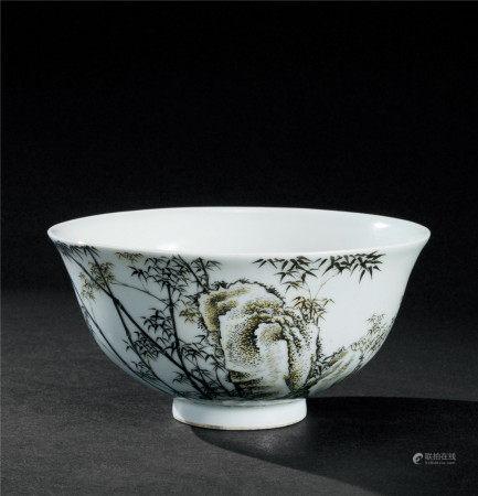 清雍正(1723~1735) 墨彩竹石诗文碗