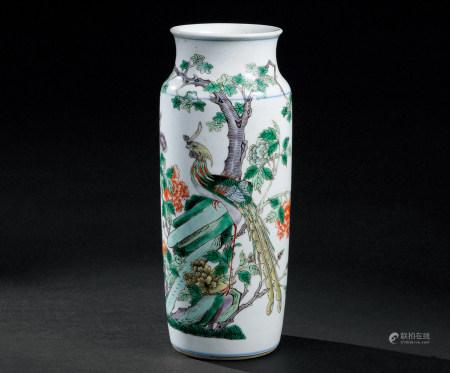 清康熙(1662~1722) 五彩凤凰牡丹纹筒瓶