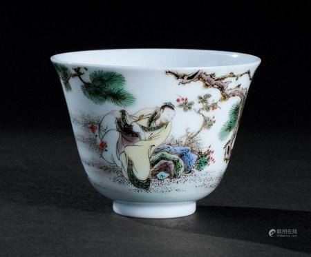 清康熙(1662~1722) 五彩松下高士纹小杯