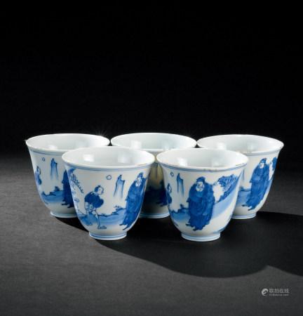 清康熙(1662~1722) 青花山水高士纹铃铛杯 (五件)
