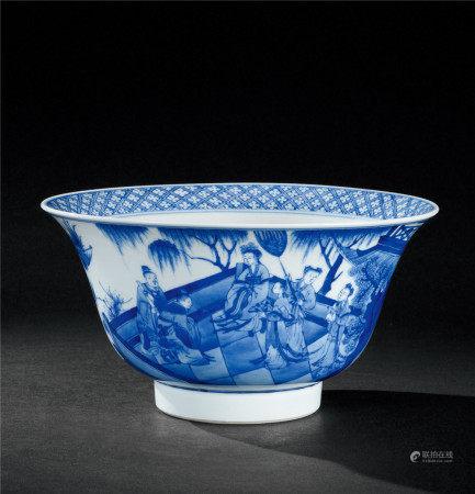 清康熙(1662~1722) 青花山水人物纹大碗