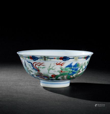 清康熙(1662~1722) 五彩龙凤纹碗