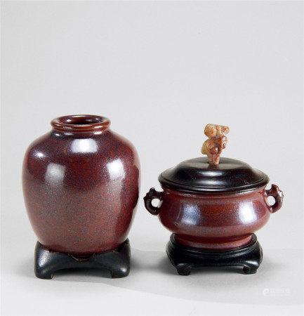 清早期(1644~1775) 紫金釉双耳香炉 太白罐 (二件)
