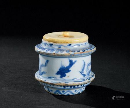 明晚期(1582~1644) 青花鱼藻纹盖罐