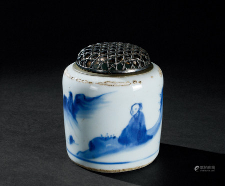 明末清初(约1627~1684) 青花山水高士纹香炉