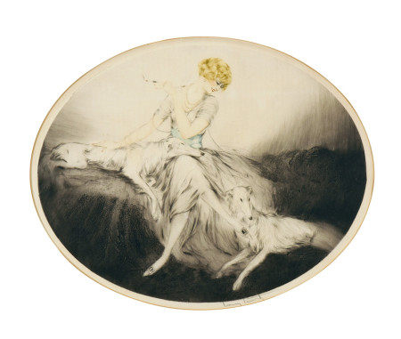 LOUIS ICART  女人与牧羊犬