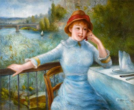 皮埃尔-奥古斯特·雷诺阿(1841-1919)  露台少女 油画