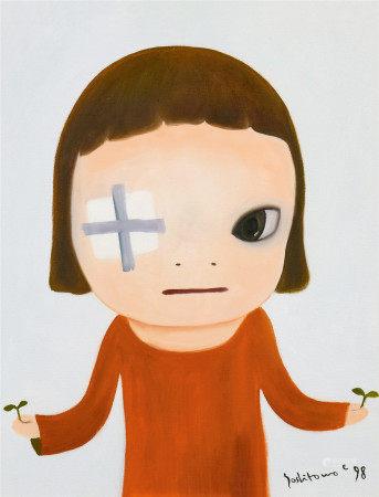 奈良美智(b.1959)  带绷带的女孩 油画